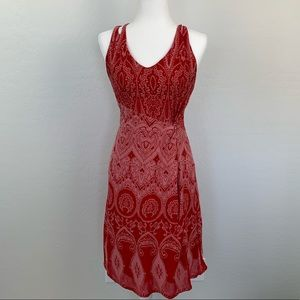 Athleta red paisley burnout dress crisscross back